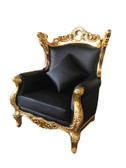 Terra Baroque Rolled Arm Chair Black Leather with Gold Frame