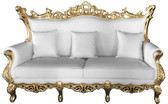 Terra Baroque Rolled Arm Sofa White Leather