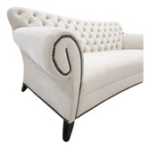 Estacado Designer Velvet Sofa In Luxurious Tufted Cream Fabric