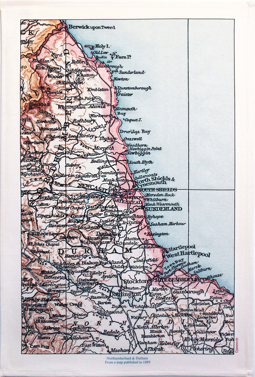 Northumberland & Durham map tea towels jane revitt shop