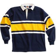 Barbarian Collegiate Design Unisex Rugby Hoodie - Navy/White/Gold