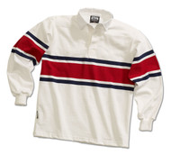 Barbarian Casual Acadia Design Unisex Shirt - White/Navy/Dark Red