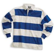 Barbarian Casual 4 Inch Stripe Design Unisex Shirt - White/Royal