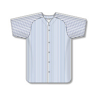 Athletic Knit Adult Poly Warp Knit Full Button Pinstripe Baseball Jersey