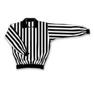 Athletic Knit Polyester Long Sleeve Hockey Referee Jersey - Black/White