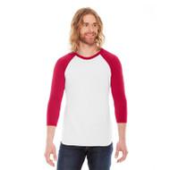 American Apparel Unisex Poly-Cotton 3/4-Sleeve Raglan T-Shirt (AS-BB453W)