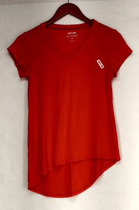 Giuliana T-Shirt V-Neck Top Sz XXS Hi Lo Hem Tee Orange Womens 495-376