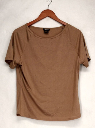 Iman T-Shirt Top Sz S Slip Into Slim Basic Tee Beige Womens 460-386