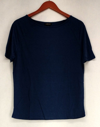 Iman T-Shirt Top Sz M Slip Into Slim Basic Tee Blue Womens 460-386