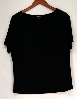 Iman T-Shirt Top Sz M Slip Into Slim Jet Lightweight Black Womens 460-386