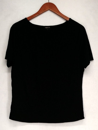 Iman T-Shirt Top Sz M Lightweight Short Sleeve Black Womens 460-386