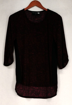 Antthony Top Sz XS Printed 3/4 Sleeve Brick Red / Black Womens 513-439