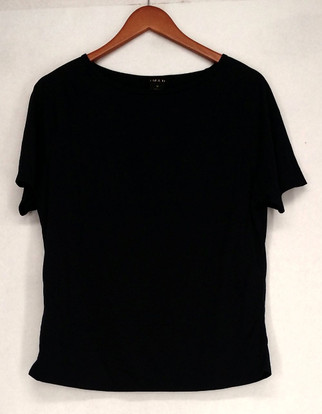 Iman T-Shirt Top Sz M Slip Into Slim Basic Tee Indigo Blue Womens 460-386
