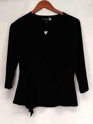 Antthony Top Sz S 3/4 Sleeve Detailed Boat Neckline Black Womens 462-325
