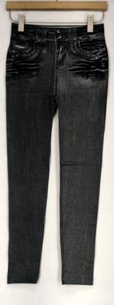 Slim 'N Lift Leggings S/M Caresse Jeggings Knit Ankle Length Black C415986