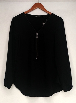 Edge by Jen Rade Top Sz 8 Zip Front Long Sleeves Black A258262