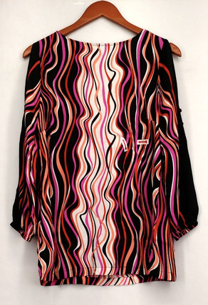 Bob Mackie Top S Cold Shoulder Printed Top w/ Button Detail Black / Pink A233334