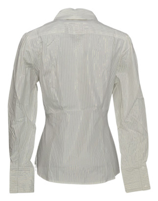 Elisabeth Hasselbeck for Dialogue Sz 8 Button front Shirt Metallic White NEW