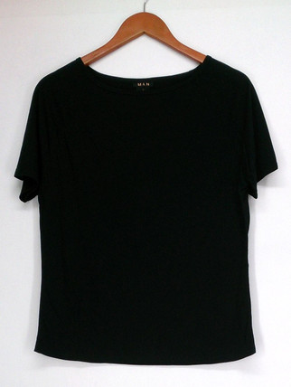 Iman T-Shirt Top S Slip Into Slim Basic Tee Short Sleeves Black Womens 460-386