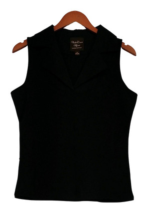 Kathleen Kirkwood Top Sz M Sleeveless Collared Notched Neckline Black A224161