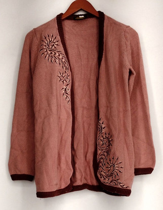 Bob Mackie Sweater Sz XXS Open Front Embroidered Cardigan Pink / Brown A263342