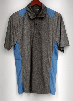 Sport Tek Sz S Stretch Knit Collared Short Sleeve Top Gray R9001