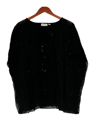 Denim & Co. Size Blazer S Eyelet Poncho Style Pull Over Black A277651