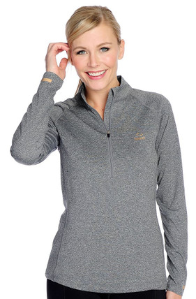 Copper Fit M Heather Grey Long Sleeved Copper Infused Half Zip Pullover