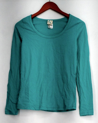 Nite Nite Munki Munki Top Sz S Stretch Knit Long Sleeve Scoop Neck Tee Blue