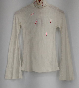 Mossimo Supply Company Top Sz M Ribbed Long Sleeve Turtle Neck White