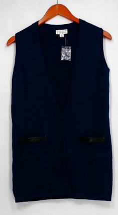 Joan Rivers Sweater XXS Boyfriend Style Vest w/ Faux Leather Trim Blue A267548