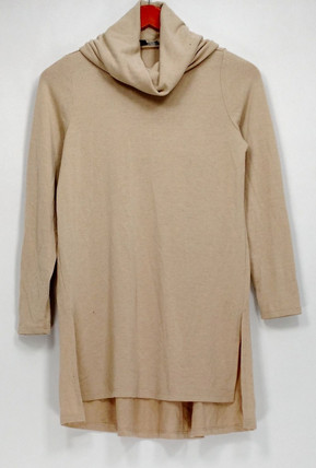 Lisa Rinna Petite Size Top XSP Cowl Neckline Knit Long Sleeves Beige A297911