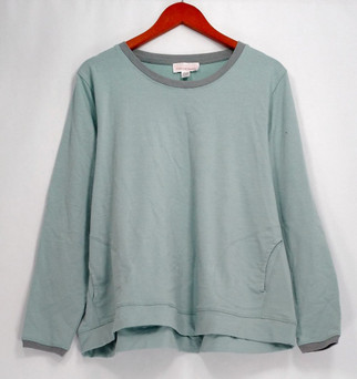 Stan Herman Petite Size Top PXL French Terry Long Sleeve w/ Pockets Blue A301849