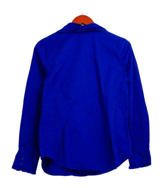 Linea by Linea Dell'Olio Top Sz S Bow Detail Button Front Blouse Blue A304790