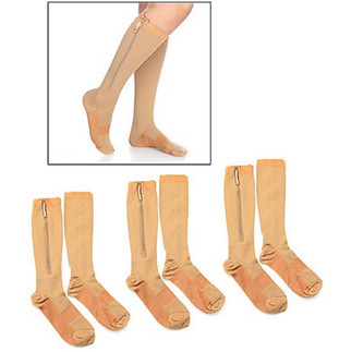 Zip Socks Set of 3 Zipper Application Compression Sz S/M Nude