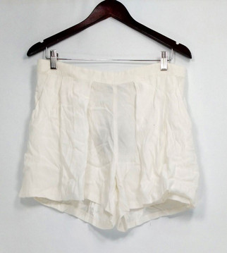 Harlowe & Graham Shorts Sz L Side Zippered Pocketed w/ Overlay White