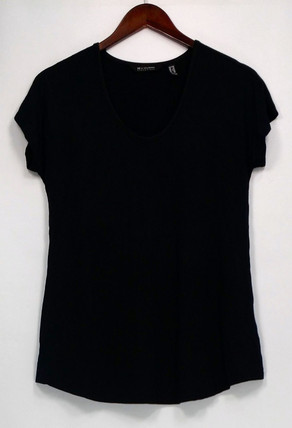 H By Halston Essentials Top Sz XXS Short Sleeve Knit Scoop Neck Black A306069
