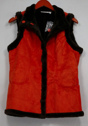 Denim & Co. Women's Sz XS Faux Suede Snap Front Vest w/Faux Fur Orange A211815