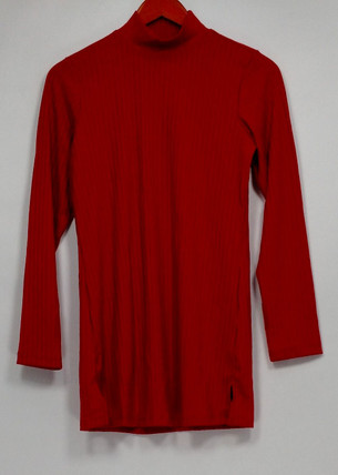 Denim & Co. Women's Top Sz XXS Essentials Ribbed Knit Long Sleeve Red A299226