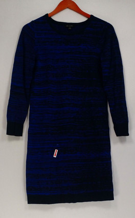 H by Halston Dress Sz 2XS Double Knit Engineered Jacquard Blue A281394
