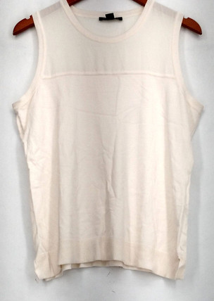 Timeless Sz L Scoop Neck Chiffon Detail Ivory Sweater Womens