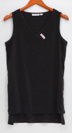 Susan Grave Sz 6 Stretch Woven V-Neck Tank Top Black A263015