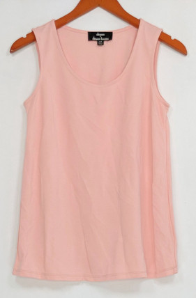 Dennis Basso Women's Top Sz XXS Essentials Knit Scoop Neck Tank Pink A292087