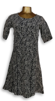 Isaac Mizrahi Live! Dress Sz XXS Scroll Knit Jacquard Fit & Flare Black A293930