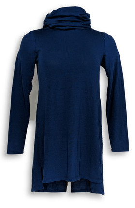Lisa Rinna Collection 2XSP Cowl Neck Tunic Knit Top Blue A297911