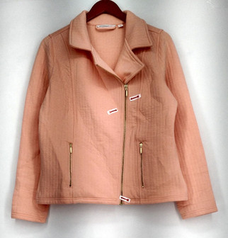 Isaac Mizrahi Live! Basic Jacket Sz S Quilted Knit Zipper Closure Orange A272238