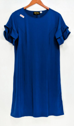Bob Mackie Dress Sz S Ruffle Detail Sleeve Knit Blue Navy Blue A310827