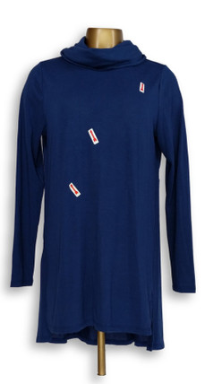 Lisa Rinna Collection Women's Top Sz M Cowl Neck Tunic Blue A297909