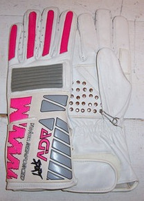 Motorcycle Gloves AGV RX3 White/Pink/Gray L
