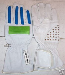Motorcycle Gloves AGV RX1 White/Green/Blue (Large)